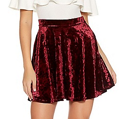 Quiz - Wine Crushed Velvet High Waist Skater Skirt