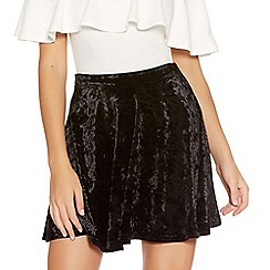Quiz - Black Crushed Velvet High Waist Skater Skirt