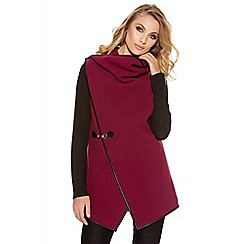 Quiz - Wine And Black Trim Waterfall Cardigan