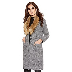 Quiz - Grey Faux Fur Trim Long Cardigan