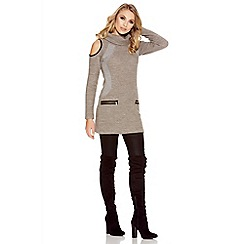 Quiz - Grey Roll Neck Cold Shoulder Tunic Dress