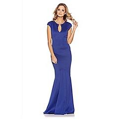 Quiz - Blue Bodycon Keyhole Fishtail Maxi Dress