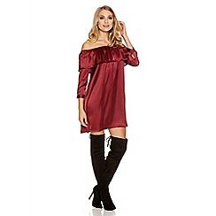 Quiz - Berry Satin Frill 3/4 Sleeve Tunic Dress