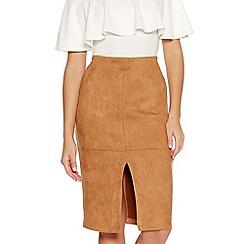 Quiz - Camel Faux Suede Front Split Midi Skirt