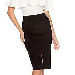 Quiz - Black Faux Suede Front Split Midi Skirt