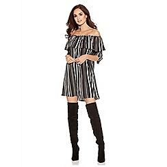 Quiz - Black Cream And Pink 3/4 Sleeve Frill Tunic Dress