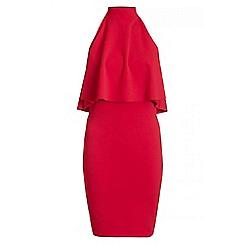 Quiz - Red Halter Neck Frill Detail Bodycon Dress