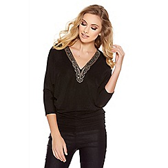 Quiz - Black Glitter 3/4 Sleeve Embellished Trim Top