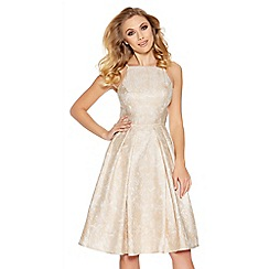 Quiz - Peach jacquard strappy skater dress