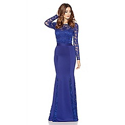 Quiz - Royal Blue Lace Long Sleeve Fishtail Maxi Dress
