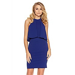Quiz - Royal Blue Halter Neck Frill Detail Bodycon Dress