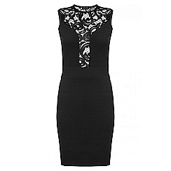 Quiz - Black Crepe Plunge Lace Neck Bodycon Dress