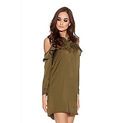 Quiz - Khaki Satin Cold Shoulder Frill Detail Shirt Dress