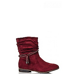 Quiz - Wine Ruched Diamante Trim Ankle Boots