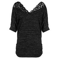 Quiz - Charcoal Light Knit Scallop Lace Top