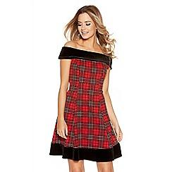 Quiz - Red And Black Check Velvet Trim Flippy Dress