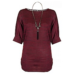 Quiz - Berry Light Knit Lace Batwing Necklace Top