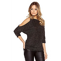 Quiz - Black And Gold Glitter Cold Shoulder Ruched Top