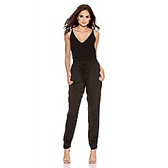 Quiz - Black Satin Elastic Waist Tapered Trousers