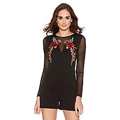Quiz - Black Flower Embroidered Mesh Sleeve Playsuit