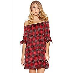 Quiz - Red And Black Check Bardot Tunic Dress