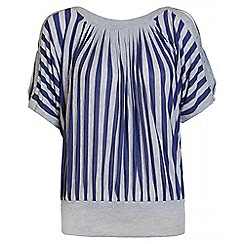 Quiz - Blue And Grey Stripe Batwing Top