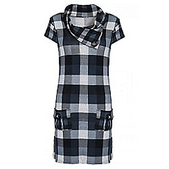 Quiz - Grey And Blue Check Light Knit Button Detail Tunic Dress