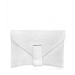 Quiz - Silver Shimmer Gold Bar Clutch Bag