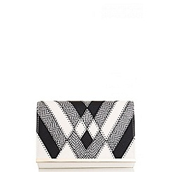 Quiz - White And Black Contrast Panel Clutch Bag
