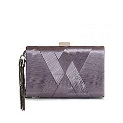 Quiz - Grey Pleated Tassel Box Clutch Bag