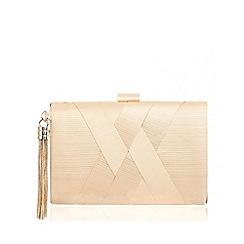 Quiz - Champagne Pleated Tassel Box Clutch Bag
