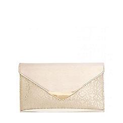 Quiz - Gold Jacquard Envelope Clutch Bag