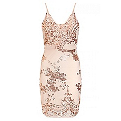 Quiz - Nude And Rose Gold Sequin Bodycon Dress