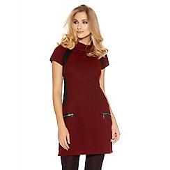 Quiz - Burgundy Knit Roll Neck Tunic Dress