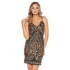 Quiz - Black And Gold Ornate Sequin Bodycon Dress