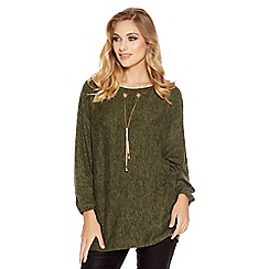 Quiz - Khaki Light Knit Necklace Detail Top