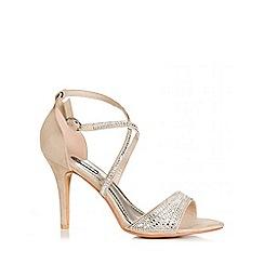 Quiz - Nude Diamante Cross Ankle Strap Sandals