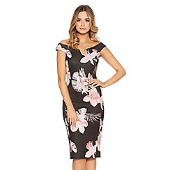 Quiz - Black flower print bardot bodycon dress