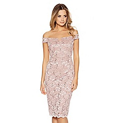 Quiz - Pink lace sequin bardot neck scallop dress
