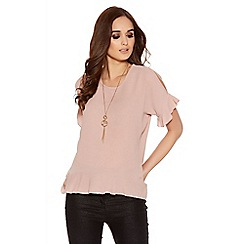Quiz - Pink Crepe Frill Cold Shoulder Necklace Top