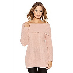 Quiz - Pale Pink Cable Knit Bardot Jumper