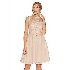Quiz - Nude chiffon embellished short dress