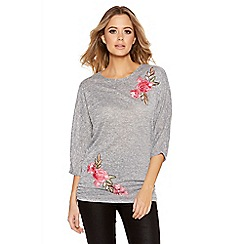 Quiz - Grey And Pink Embroidered Light Knit Batwing Top
