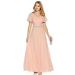 Quiz - Peach chiffon v neck maxi dress