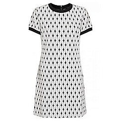 Quiz - White And Black Knitted Jacquard Tunic Dress