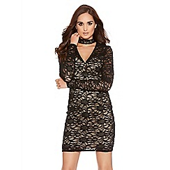 Quiz - Black And Nude Lace Cut Out Detail Dress