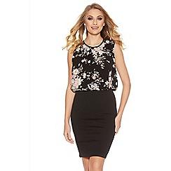 Quiz - Black Floral Print Bubble  Midi Dress