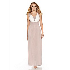 Quiz - Mocha and cream chiffon embellished maxi dress