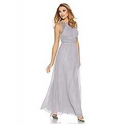 Quiz - Grey chiffon high neck embellished maxi dress