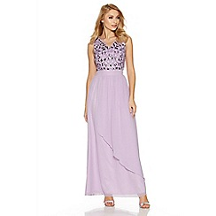 Quiz - Lilac V Neck Diamante Embellished Waterfall Maxi Dress